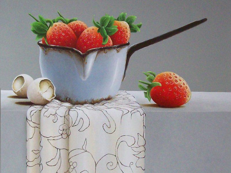 lente – stilleven met aardbeien & verlaten eitjes