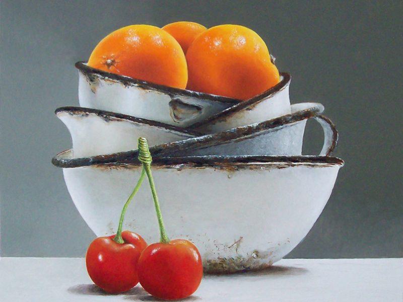 stilleven met mandarijen en twee kersen