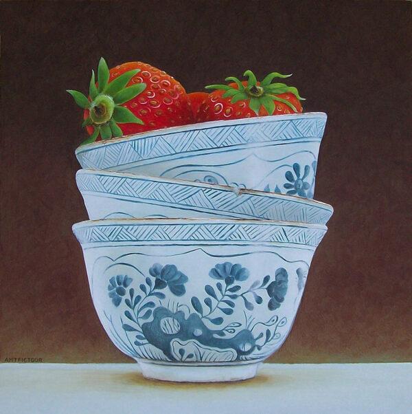 aardbeien in Chinese kommetjes